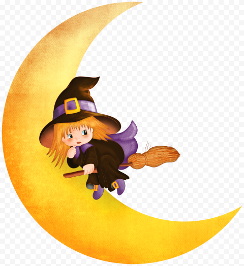 HD Halloween Chibi Cute Witch With Yellow Moon Cartoon PNG