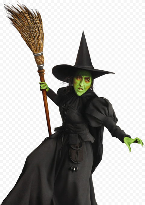 HD Scary Green Witch Face Wear Black Clothes Hat Hold Broom PNG