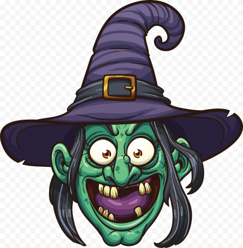 HD Cartoon Clipart Funny Green Witch Face PNG