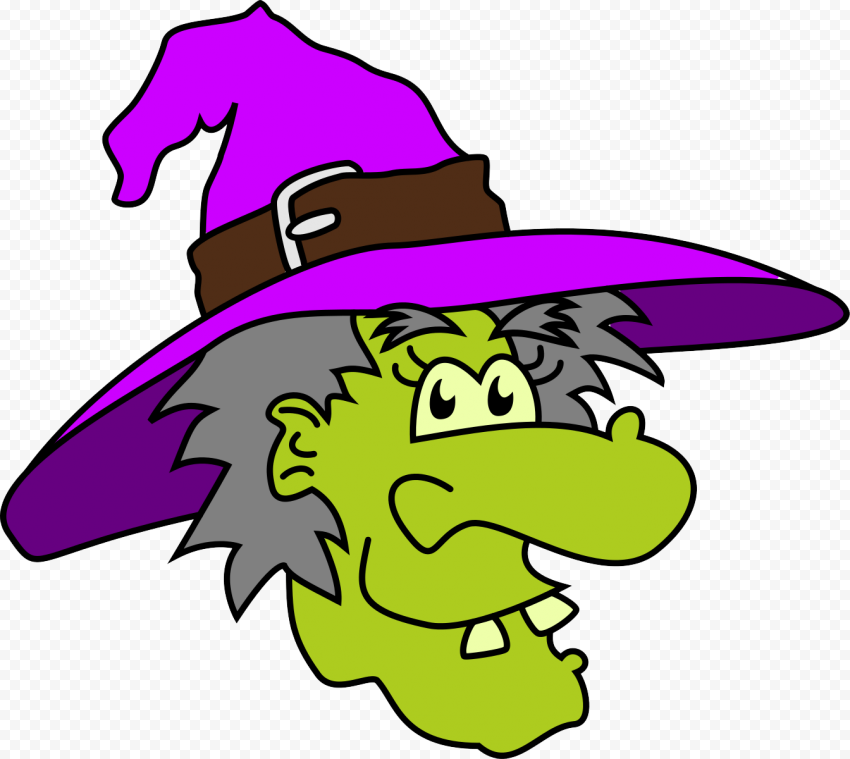 HD Halloween Clipart Funny Green Witch Face PNG