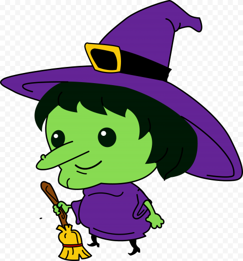 HD Halloween Clipart Funny Green Witch Face Hold Broom PNG