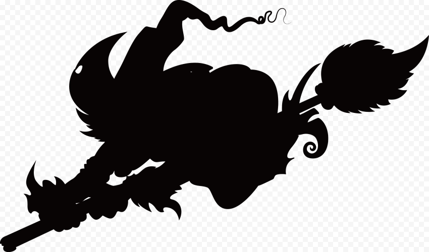 HD Halloween Black Scary Witch Flying On A Broom Silhouette PNG