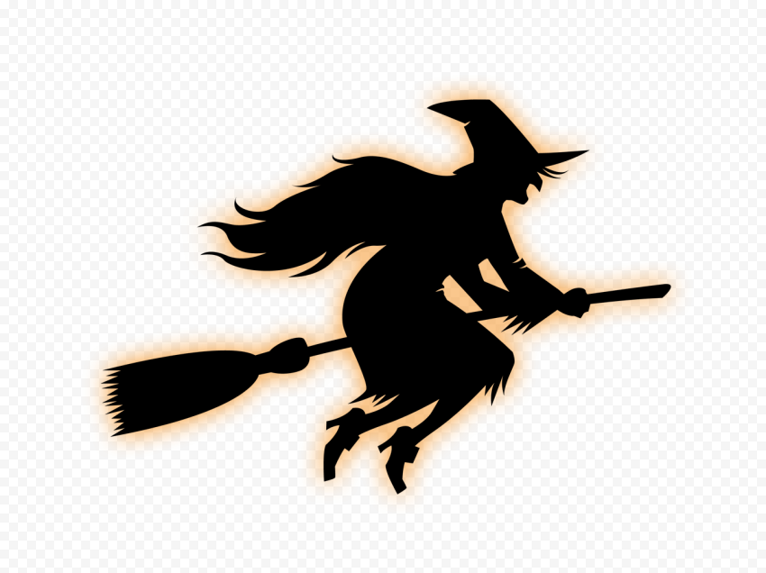 HD Black & Orange Witch Flying On A Broom Silhouette PNG