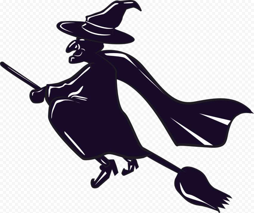 HD Blue Witch Flying On A Broom Silhouette PNG