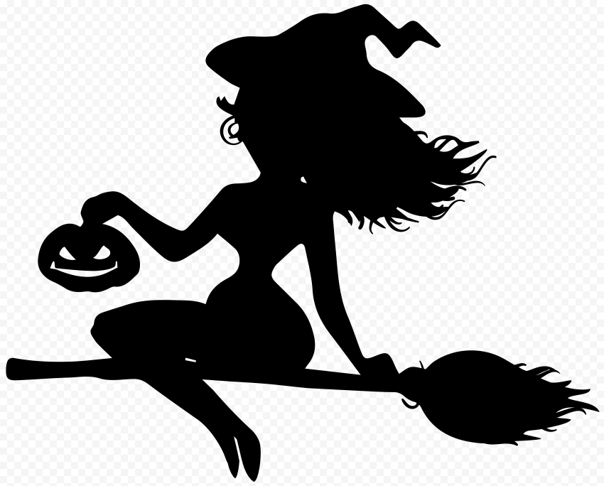 HD Beautiful Halloween Witch Flying On A Broom Silhouette PNG