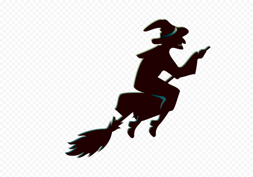 HD Halloween Witch Flying On A Broom Creative Silhouette PNG