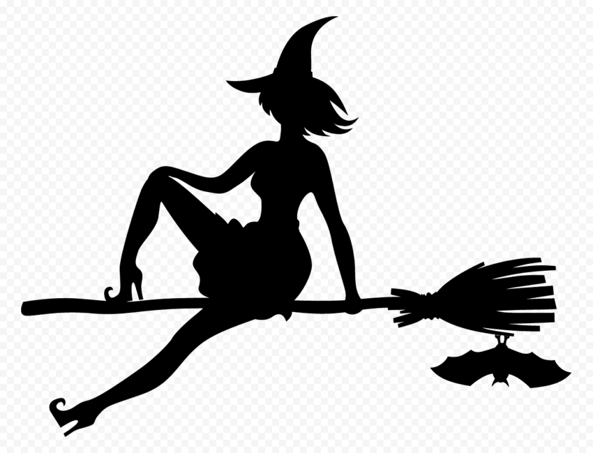 HD Halloween Witch Sitting On A Broom Black With Bat Silhouette PNG