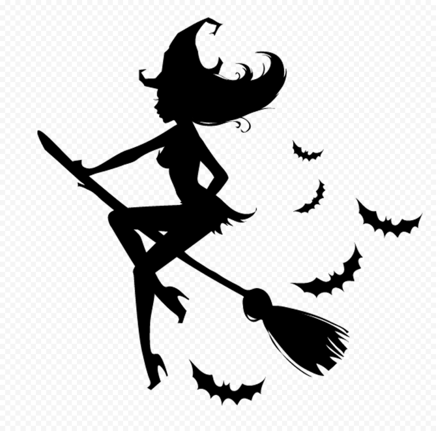 HD Witch Flying On A Broom Surrounded By Bats Silhouette PNG