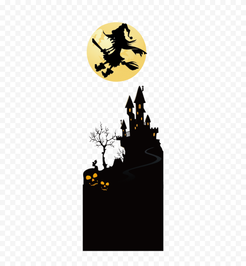 HD Witch Flying On A Broom With Full Moon & Castle Silhouettes PNG