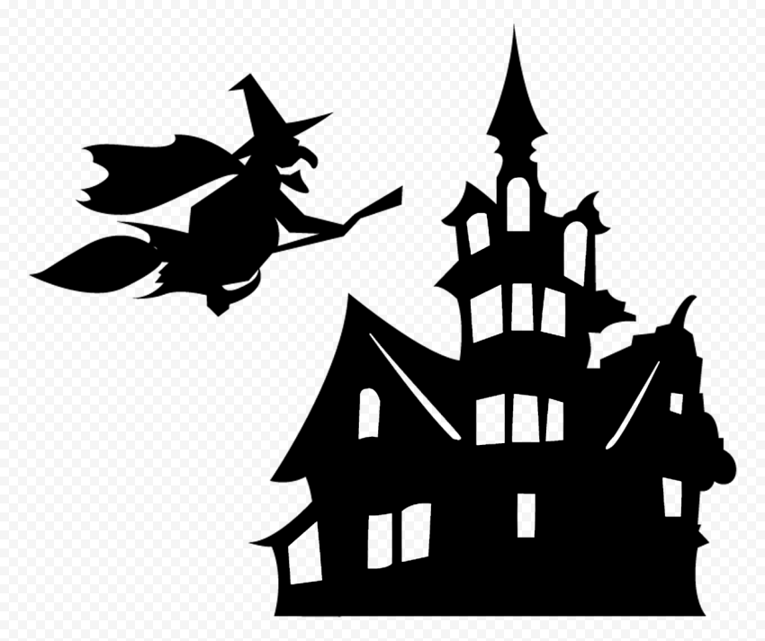 HD Witch Flying On A Broom & Scary House Silhouette PNG