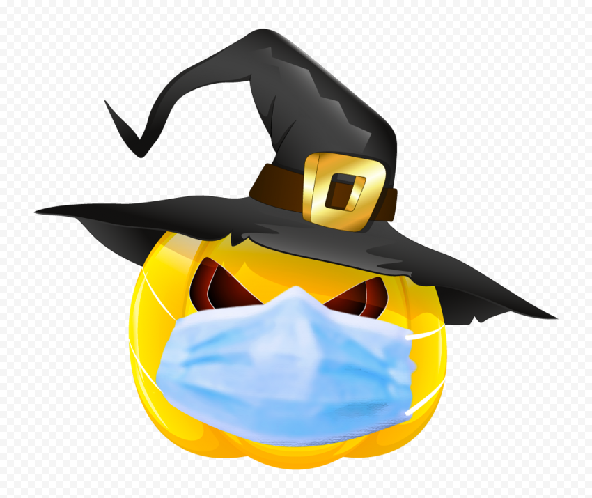 HD Halloween Pumpkin Wear Surgical Mask And Witch Hat PNG