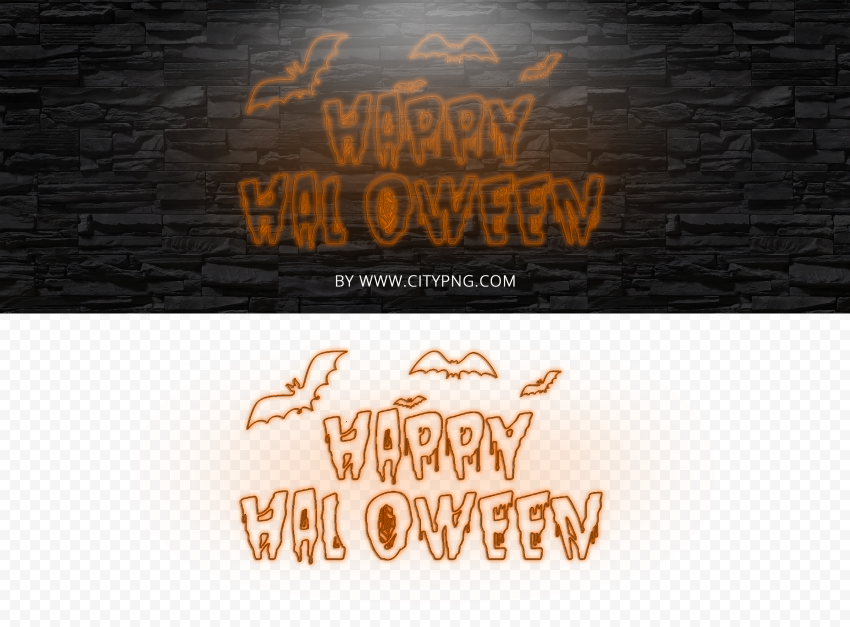 HD Neon Orange Happy Halloween PNG
