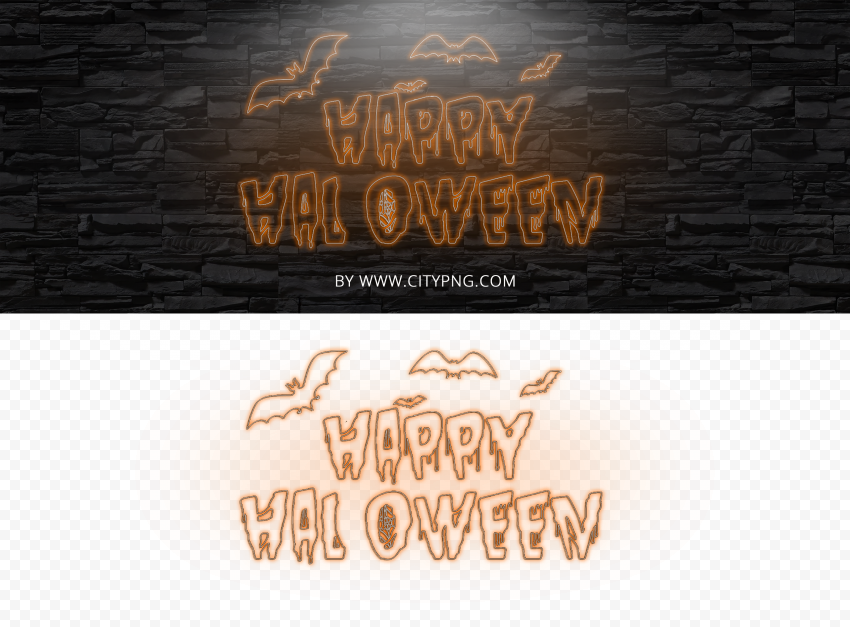 HD Neon White & Orange Happy Halloween PNG