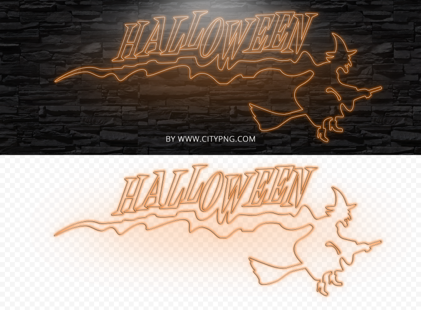 HD Neon Orange Halloween With Witch Flying On A Broom PNG