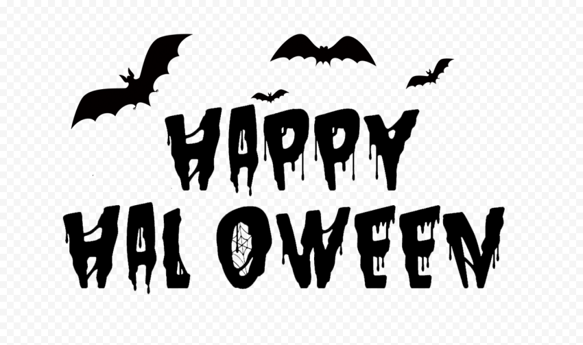 HD Creative Happy Halloween Black Text With Bats Silhouette PNG