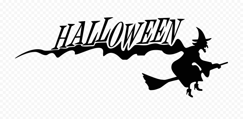 HD Halloween Black Text Word With Witch Flying Silhouette PNG
