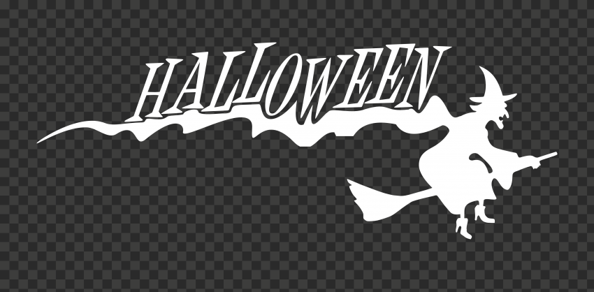 HD Halloween White Text Word With Witch Flying Silhouette PNG