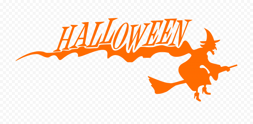HD Halloween Orange Text Word With Witch Flying Silhouette PNG