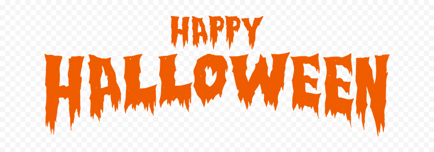 HD Happy Halloween Orange Words Letters Text Font PNG