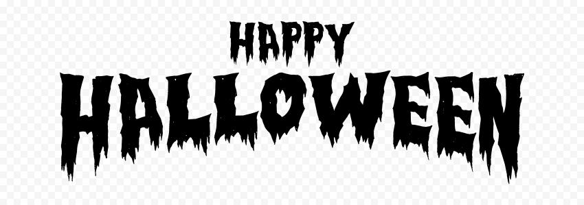 HD Happy Halloween Black Words Letters Text Font PNG