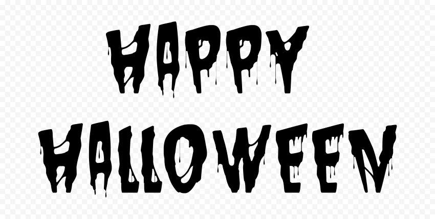 HD Black Happy Halloween Words Letters Text PNG