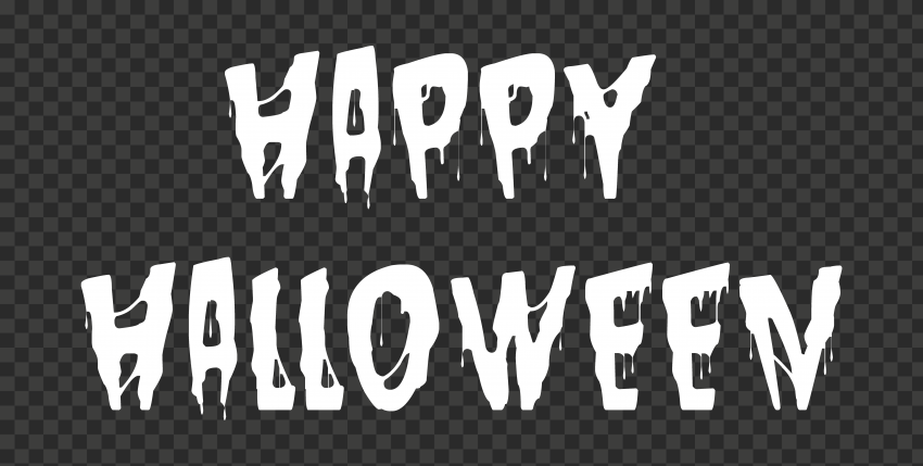 HD White Happy Halloween Words Letters Text PNG