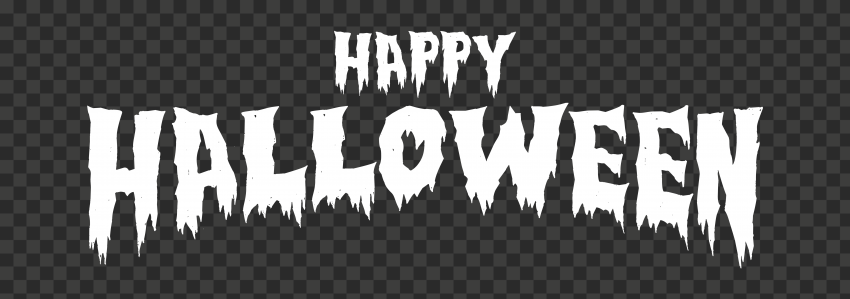 HD Happy Halloween White Words Letters Text Font PNG