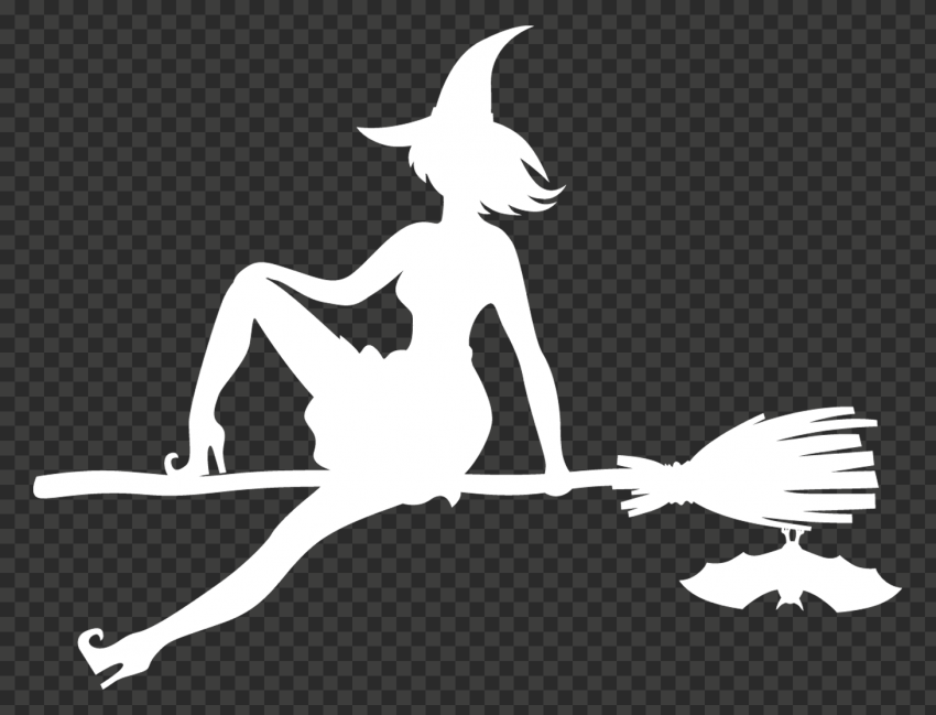 HD Halloween Witch Sitting On A Broom White With Bat Silhouette PNG