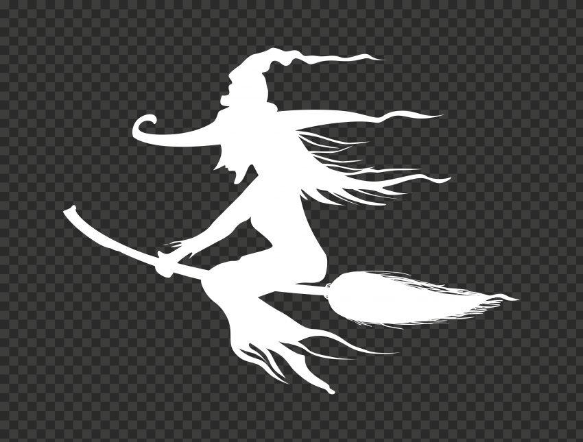 HD Halloween White Witch Silhouette Flying On A Broom PNG