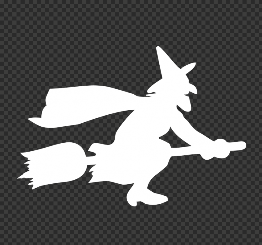 HD Halloween White Witch Flying On A Broom Silhouette PNG