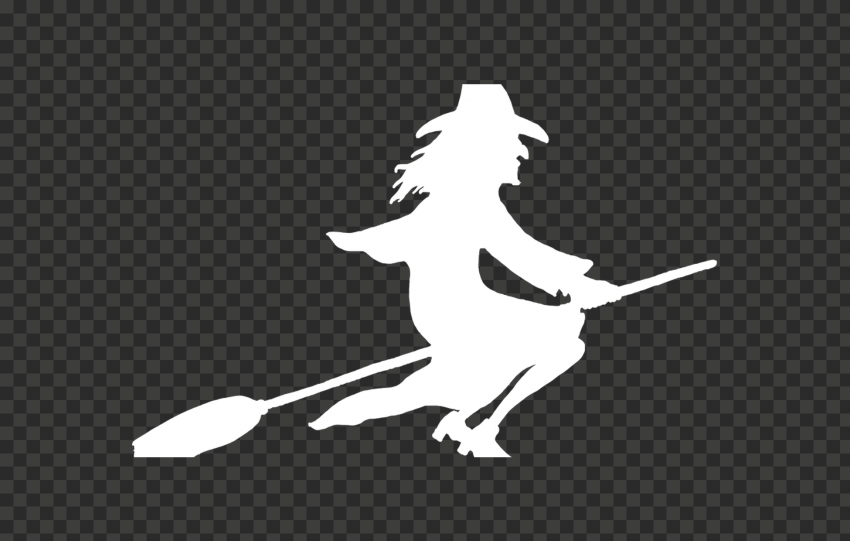 HD Halloween White Witch Flying On A Broom White Silhouette PNG