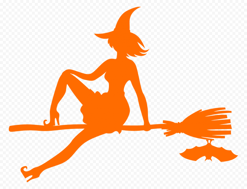 HD Halloween Witch Sitting On A Broom Orange With Bat Silhouette PNG