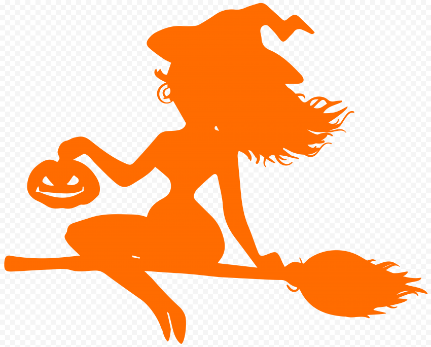 HD Beautiful Halloween Witch Flying On A Broom Orange Silhouette PNG