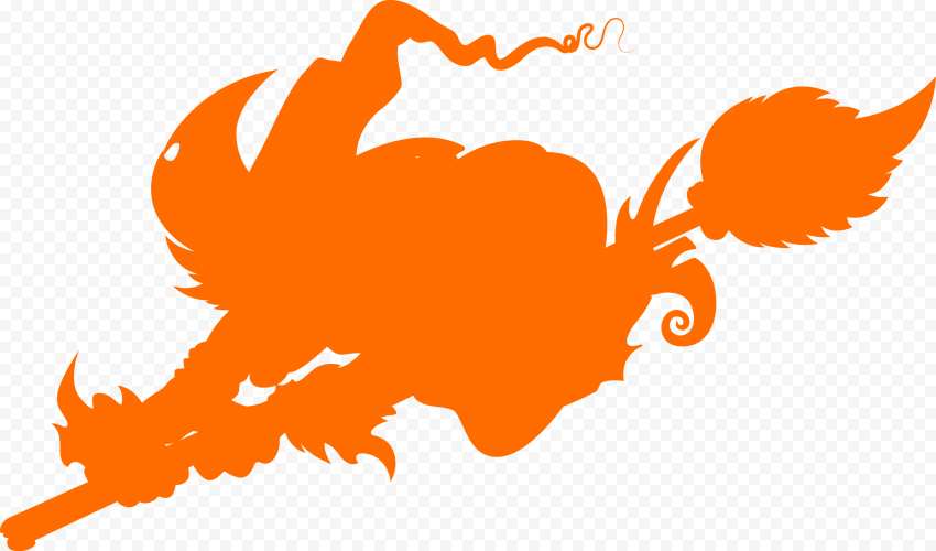 HD Halloween Orange Scary Witch Flying On A Broom Silhouette PNG