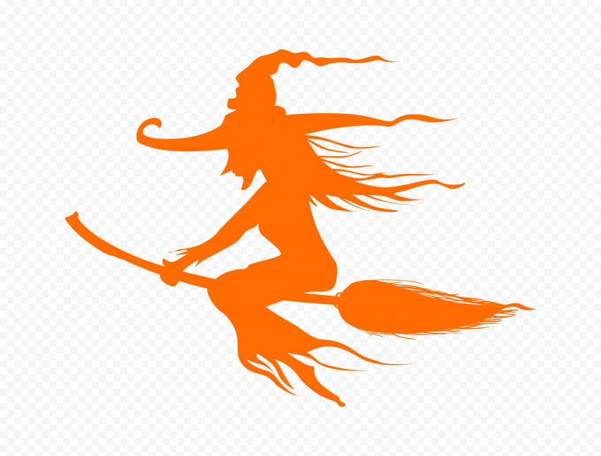 HD Halloween Orange Witch Silhouette Flying On A Broom PNG