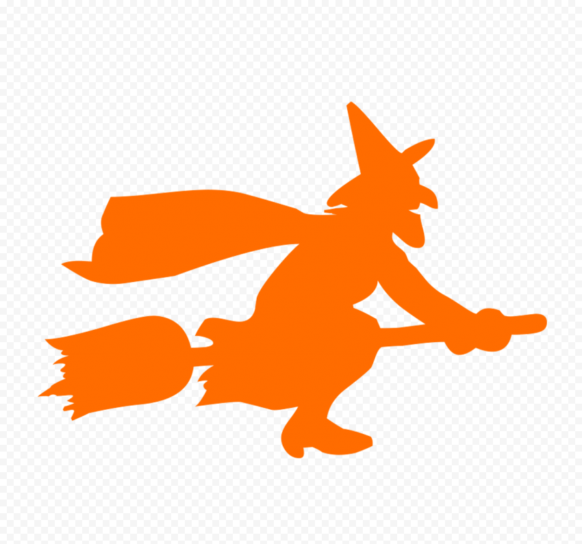 HD Halloween Orange Witch Flying On A Broom Silhouette PNG
