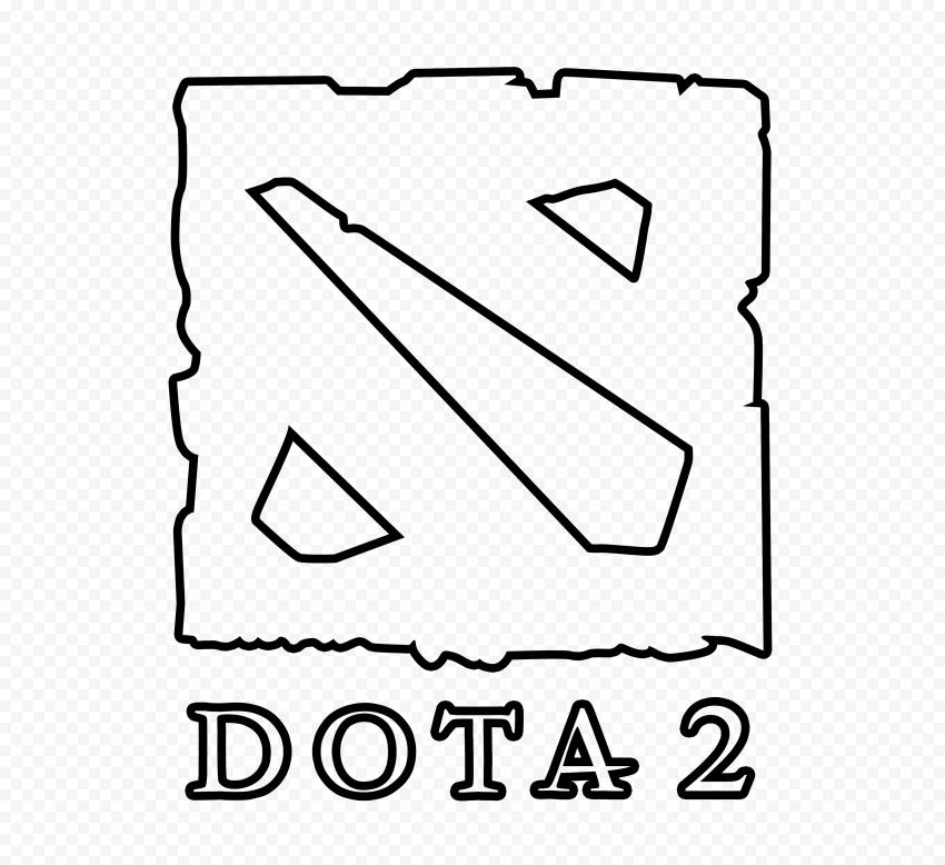 HD Dota 2 Outline Black Logo Icon Symbol PNG