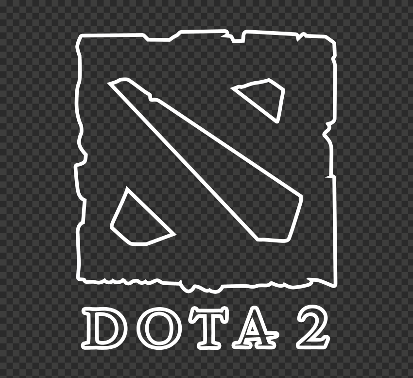 HD Dota 2 Outline White Logo Icon Symbol PNG