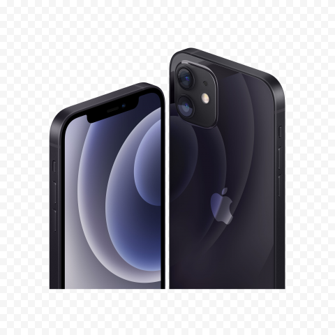 HD Apple Black iPhone 12 Front & Back Views PNG