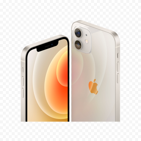HD Apple White iPhone 12 Front & Back Views PNG