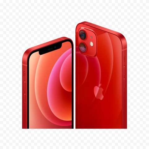 HD Apple Red iPhone 12 Front & Back Views PNG