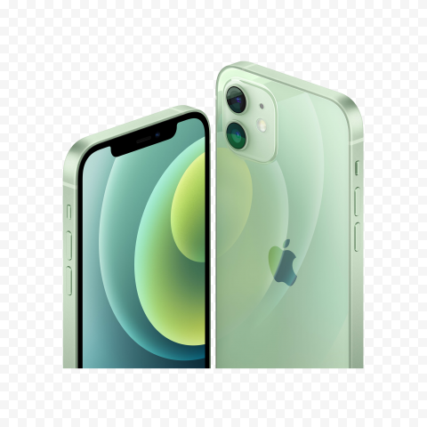 HD Apple Green iPhone 12 Front & Back Views PNG