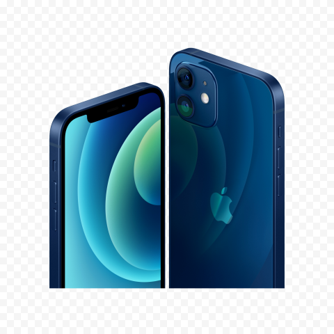 HD Apple Blue iPhone 12 Front & Back Views PNG