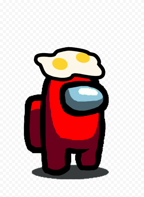HD Red Among Us Character With Two Egg On Head Hat PNG