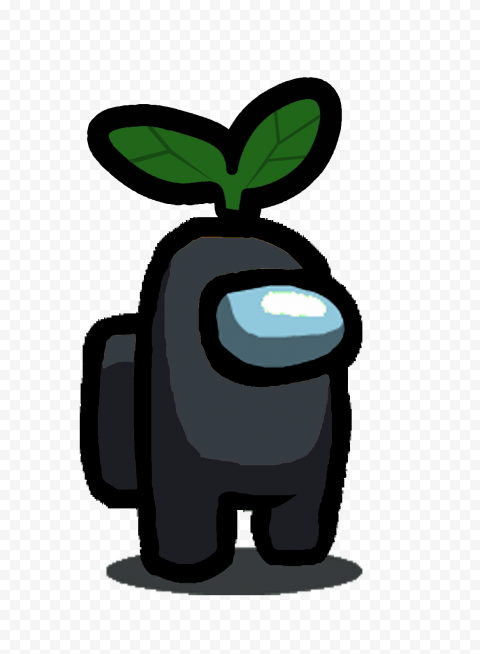 HD Black Among Us Character With Green Leaf Hat On Head PNG