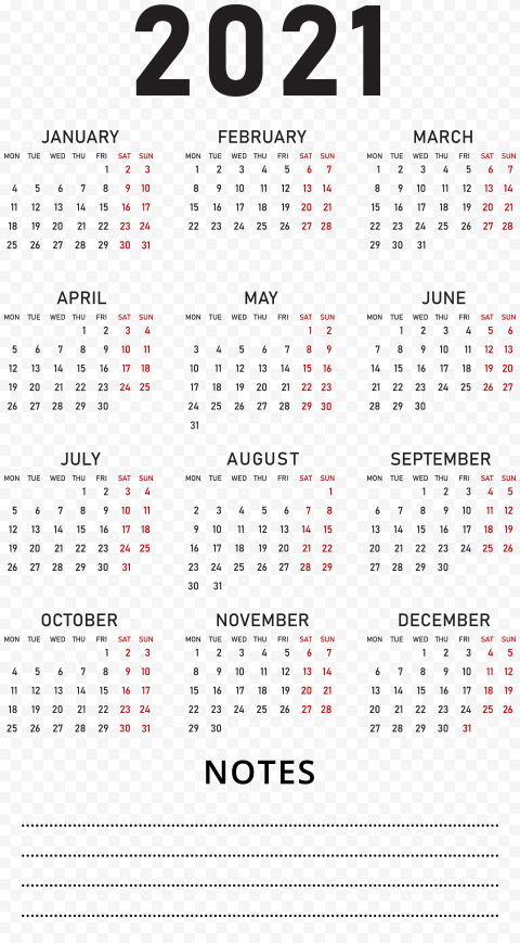 HD 2021 Calendar With Notes Black Text Clipart PNG