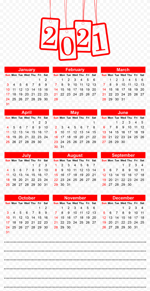 HD 2021 Beautiful Red Calendar With Notes Section Clipart PNG