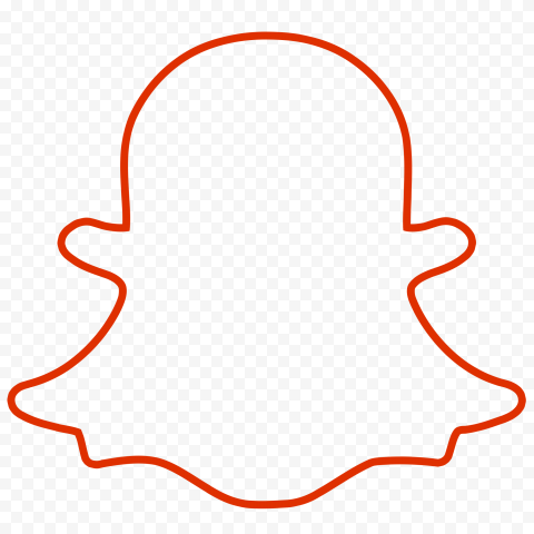 HD Red Snapchat Outline Ghost Logo Icon Symbol PNG Image