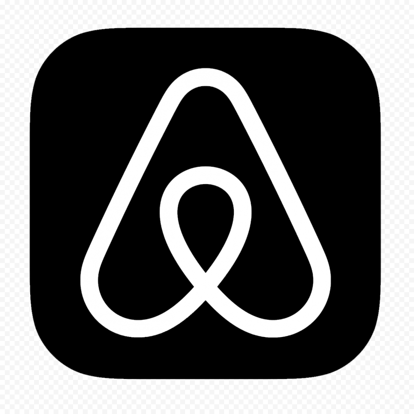 HD Black & White Airbnb Square App Icon Logo PNG Image