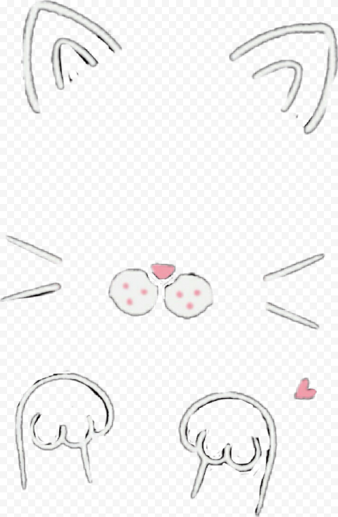 HD Snapchat Cat Cute Snow Filter Ears Nose & Claws PNG Image